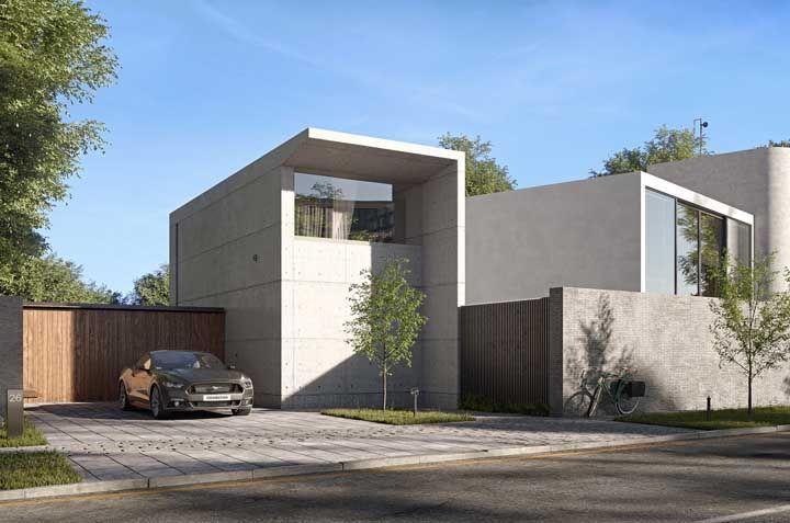 Repare como o concreto aparente, apesar de simples, consegue provocar um grande impacto visual no projeto da fachada