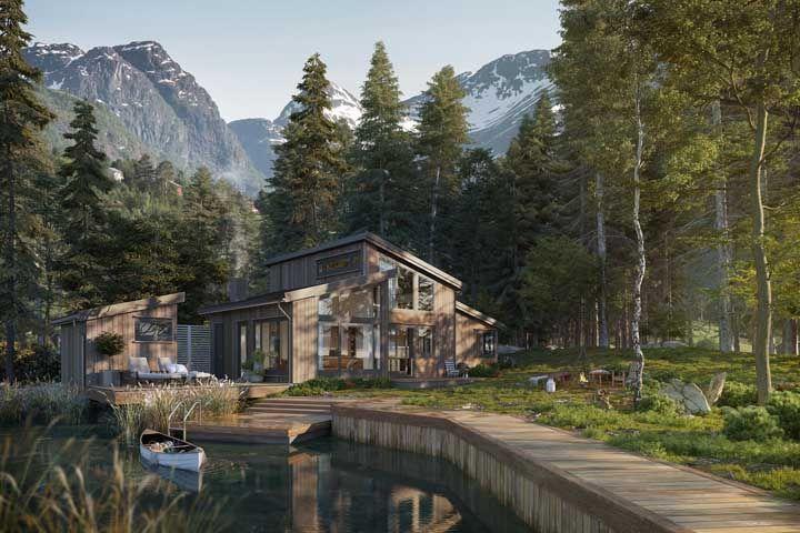 Em meio a natureza, a frente da casa não poderia ser de outro material que não fosse a madeira