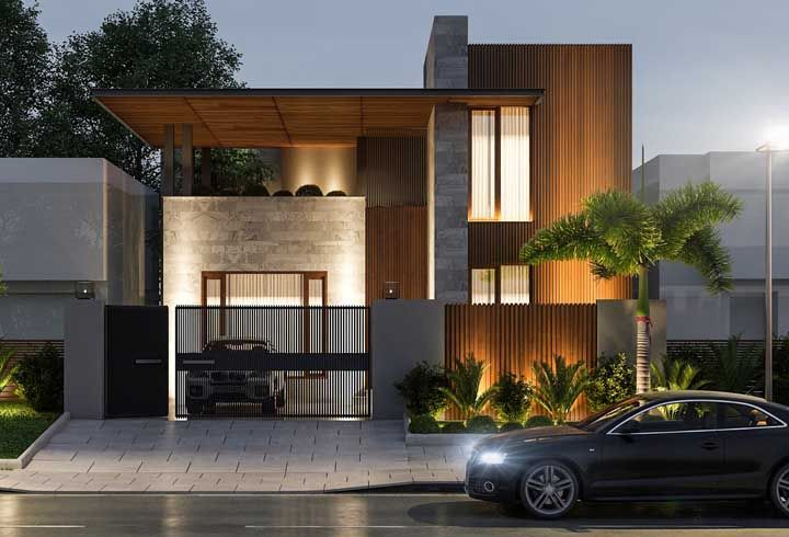 O muro é parte integrante da frente da casa, por isso não o deixe de fora do projeto