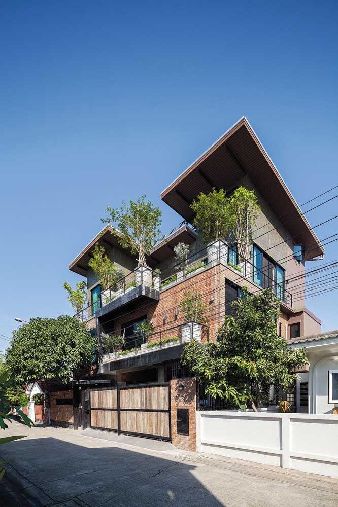 Plantas e um telhado fora do convencional para destacar a casa do restante da vizinhança