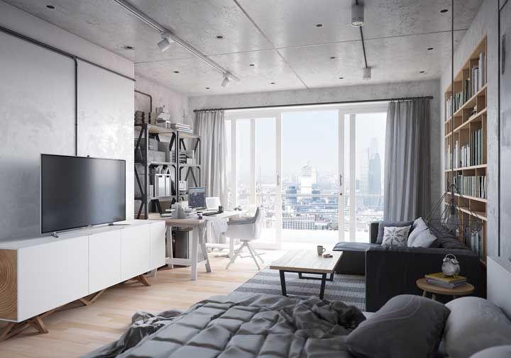 Já o apartamento de estilo industrial preferiu um projeto mais simples, funcional e que valorizasse espaços livres