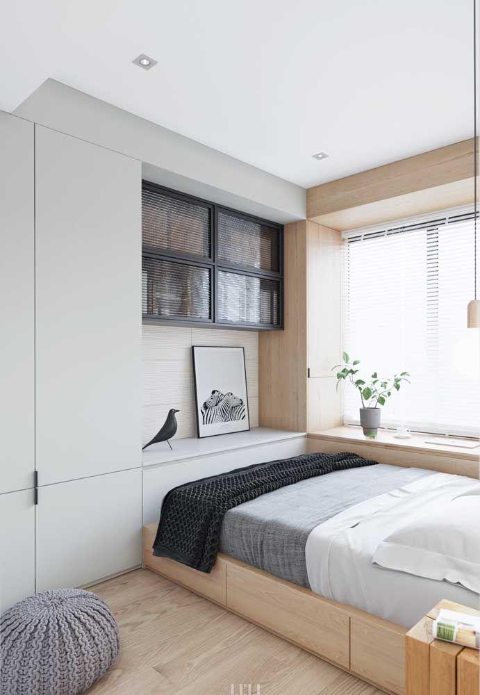 Cama com gavetas e armário embutido