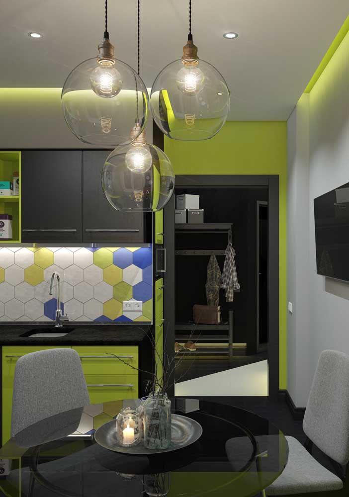 Cozinha verde, mas sem ser fria; como conseguir isso? Use um tom cítrico