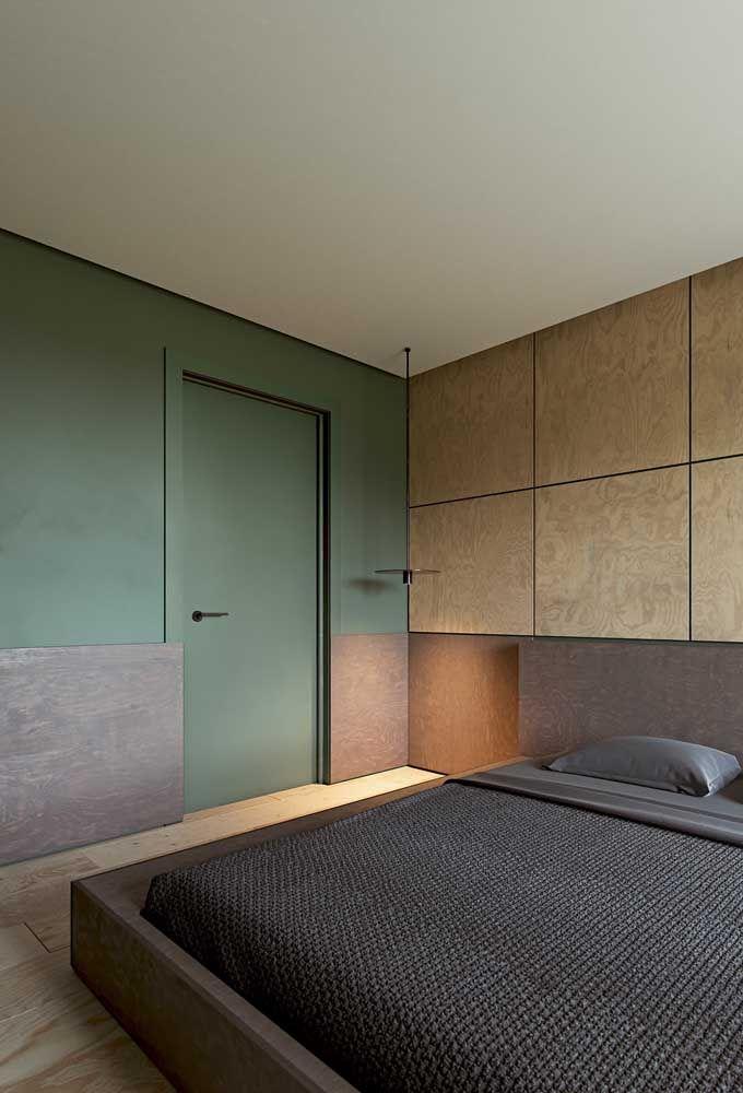 O verde traz sobriedade ao quarto, mas ao mesmo tempo é acolhedor e tranquilo