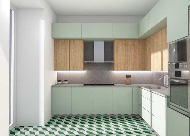 O verde é a cor escolhida para realçar a cozinha