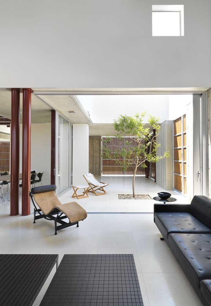O bambu é o destaque desse jardim de inverno que foi criado entre os ambientes da casa