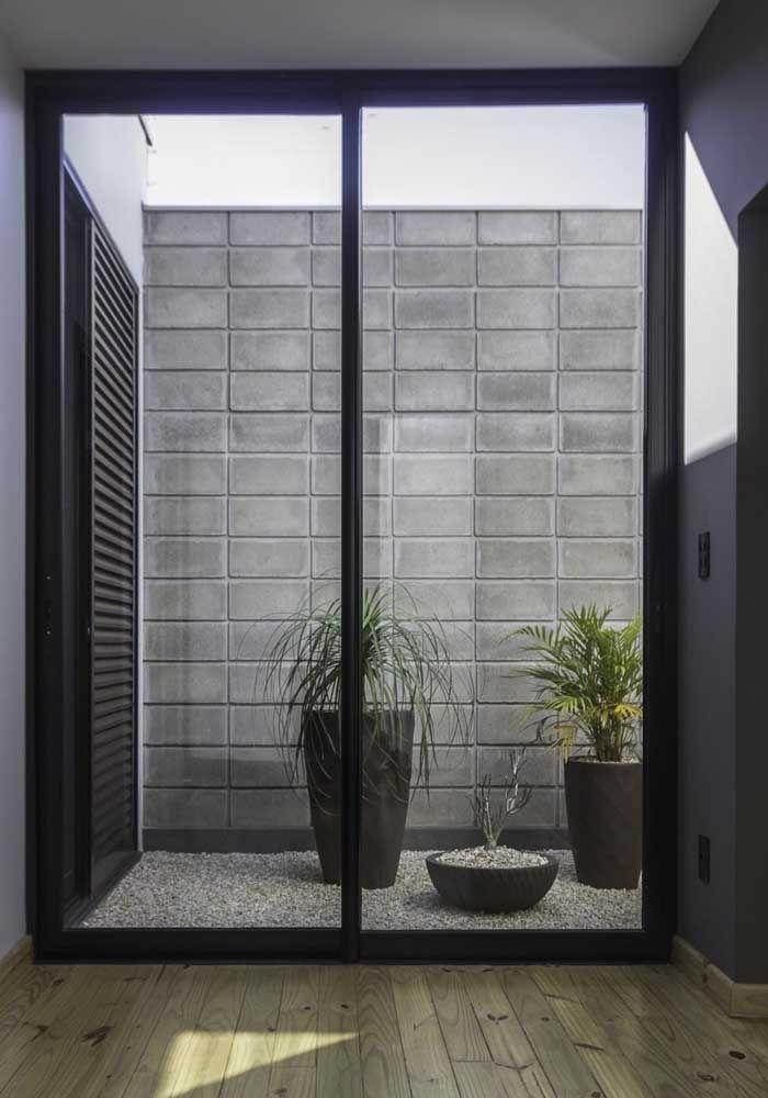 Jardim de inverno simples: aqui, as plantas foram colocadas em vasos altos e o chão coberto por pedriscos