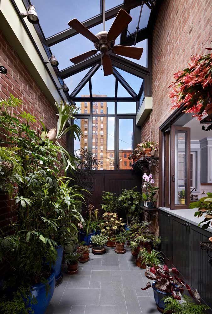 Bem equipado, esse jardim de inverno tem tudo o que as plantinhas precisam: um teto translúcido, ventilador e iluminação apropriada