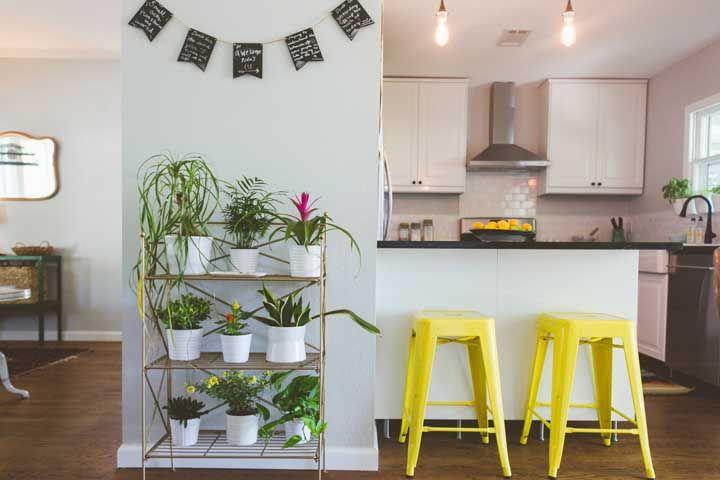 Uma combinação e tanto de plantas para o corredor de acesso à cozinha; tem de tudo um pouco: folhagens, flores e pendentes, entre elas a jiboia