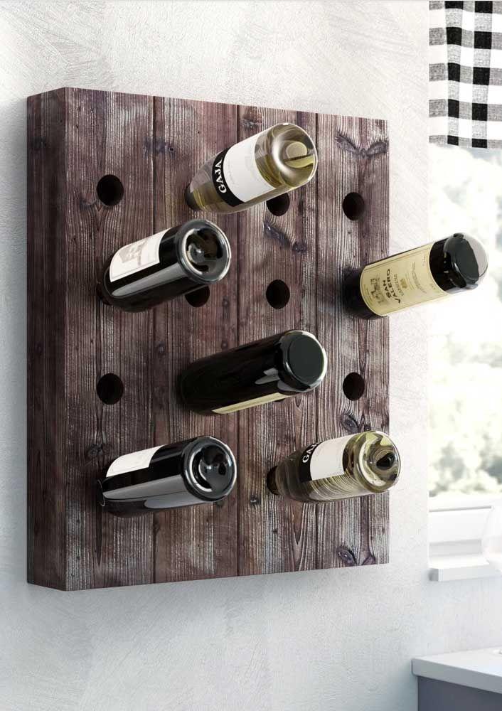 """Inspiração para adegas """"faça você mesmo"""", cuidado apenas para manter o ângulo de inclinação adequada para as garrafas"""