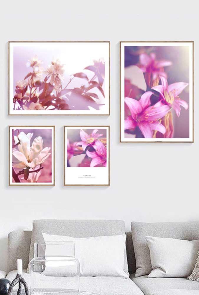 Não dá para ter um vaso de azaleia em casa? Use quadros com fotos das flores; uma alternativa bem interessante