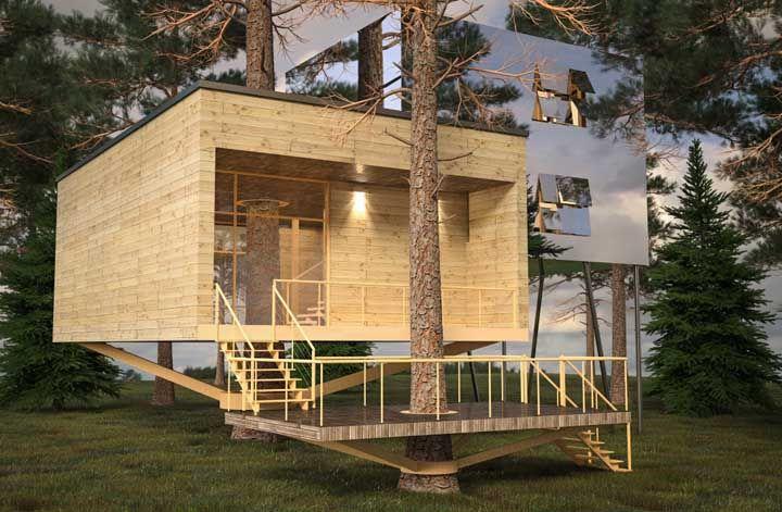 Quantos adjetivos você consegue dar para essa casa na árvore? Rústica, moderna, futurista, original, criativa e por aí vai