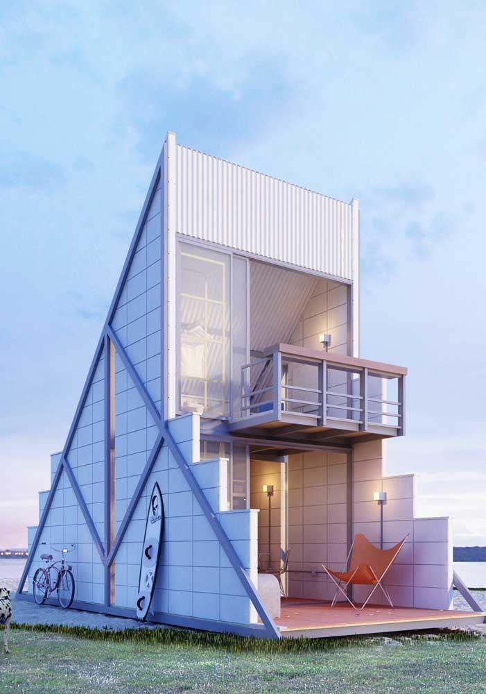 Casa Container em versão sobrado; a estrutura metálica permite criações incríveis