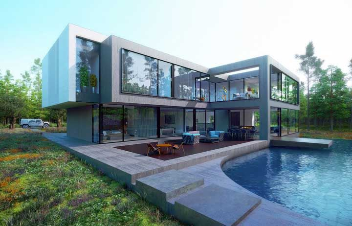 Casa em L com piscina; um projeto que não mede esforços para impressionar quem olha