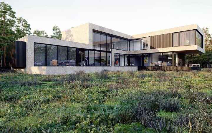 Moderna, iluminada e espaçosa: essa casa em L tem tudo o que precisa para trazer qualidade de vida aos moradores