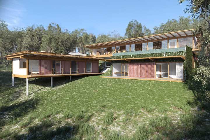 Vidro e madeira para esse projeto de casa de fazenda