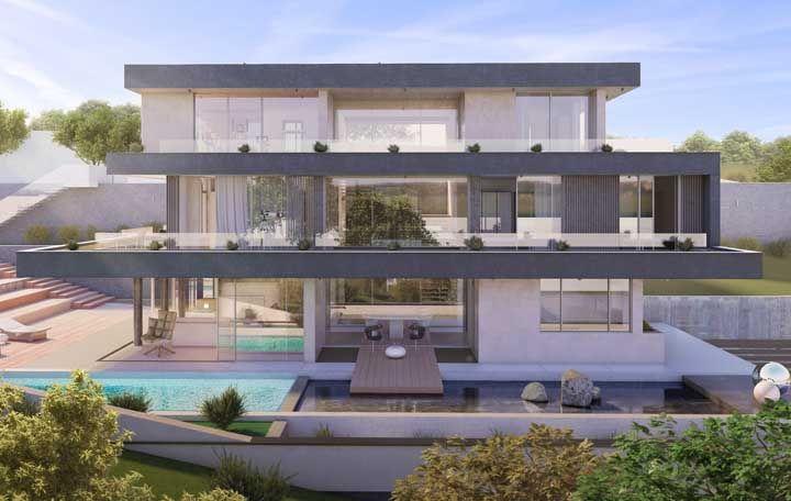 Já esse projeto de casa grande apostou no uso do vidro para deixar o interior bem iluminado