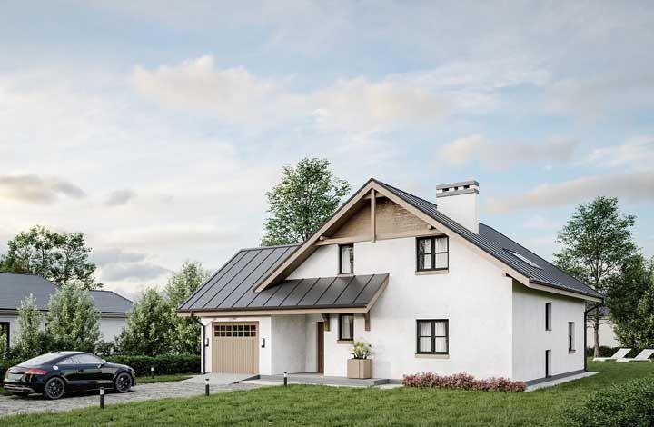 O telhado faz toda diferença nesse projeto de casa de alvenaria