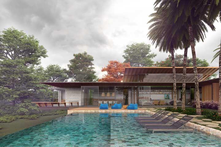 Ser linda não basta, a casa também precisa ser receptiva e para isso nada melhor do que uma área externa com piscina