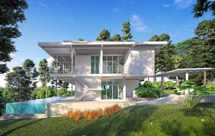 Metal, vidro e cores neutras: um típico exemplo de casa moderna