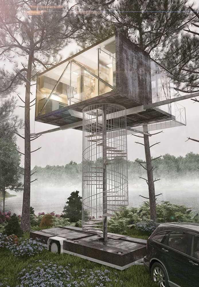 Uma casa na árvore pode ir muito além de uma brincadeira de criança e virar moradia de verdade; a imagem abaixo que o diga