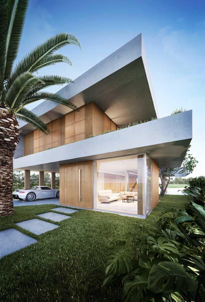 Casa moderna também usa madeira