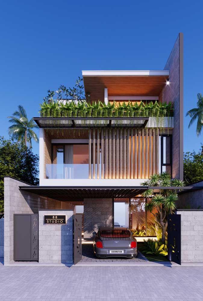 Volumes e texturas na fachada são outra característica das casas modernas