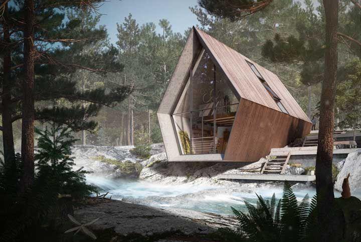 Original e moderna, quem diria que se trata de uma casa pré-fabricada