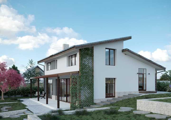Complete o projeto da casa simples com plantas e um jardim na entrada