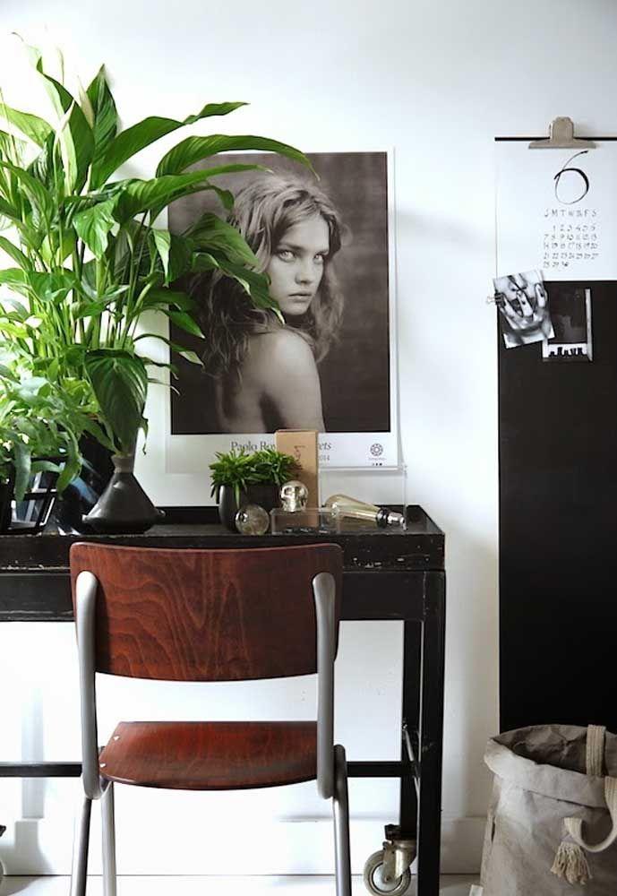 Para destacar a decoração sóbria e neutra, um vaso verde e viçoso de lírios da paz