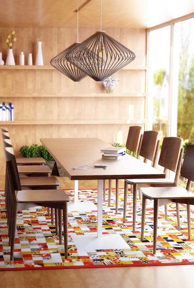Dá até para cobrir todo o chão da sala de jantar com um tapete de patchwork