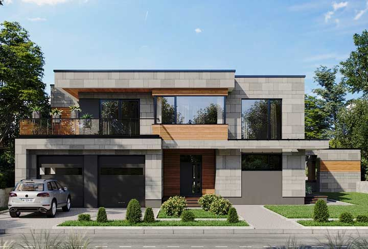 Quer uma fachada mais moderna do que essa feita com platibandas e blocos de concreto?