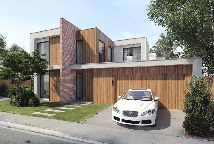 A parede de tijolinhos serve tanto a parte interna quanto externa dessa casa e, ainda, funciona como platibanda da fachada