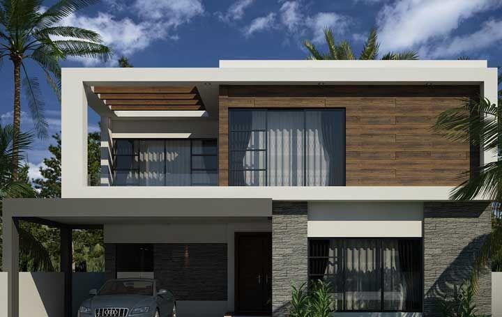 Projeto simples de fachada com platibanda