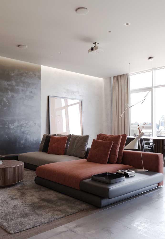 Três tons terrosos no mesmo sofá, um charme só!
