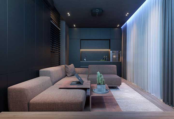 Repare como o tecido faz toda a diferença no visual do sofá em L