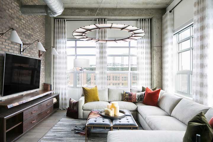 Sofá com canto duplo para abraçar a sala de estar