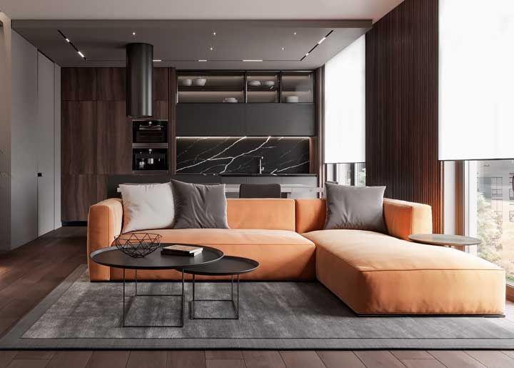 Aqui toda a atenção é para o sofá em L