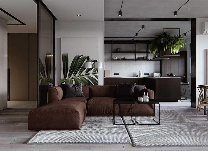 Os ambientes integrados ficam mais harmônicos com o sofá em L