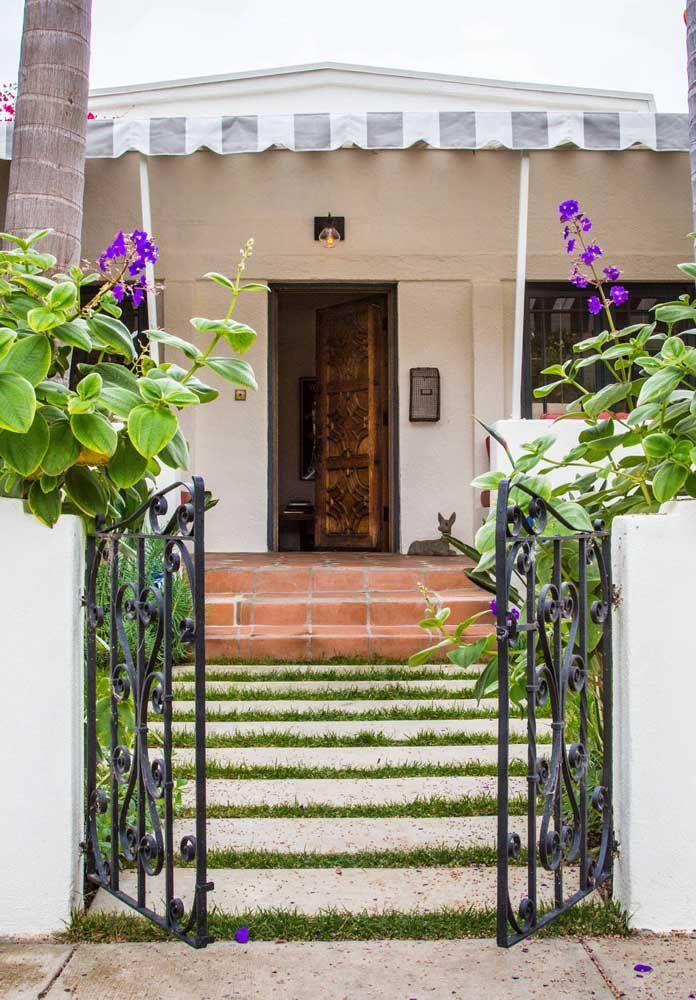 Vai dizer que o concregrama não é capaz de deixar a entrada da casa muito mais charmosa?