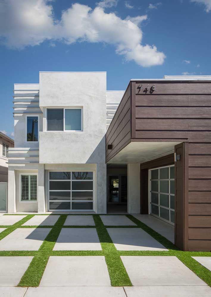 Traga a energia do verde para as casas modernas também! Veja como o concregrama dá vida a fachada