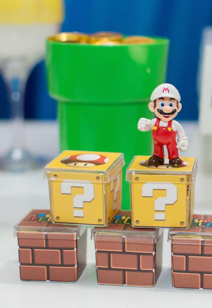 Todos os itens da festa devem seguir o tema Mario Bros.