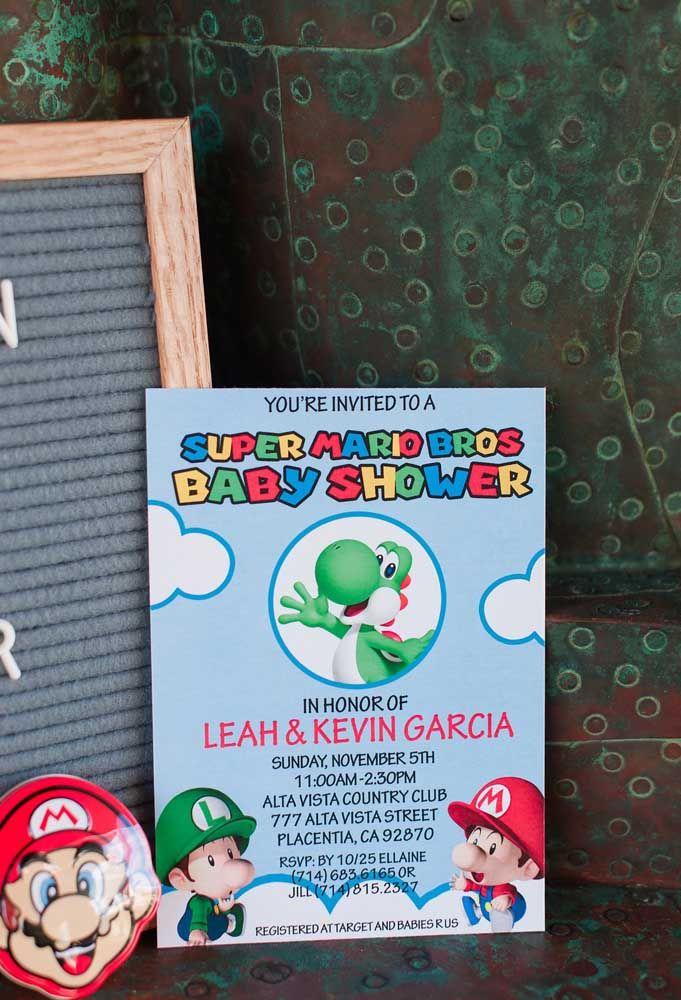 Os convites do aniversário devem ser personalizados com o tema Mario Bros. Uma boa opção é fazer cartões com as figuras da turma.