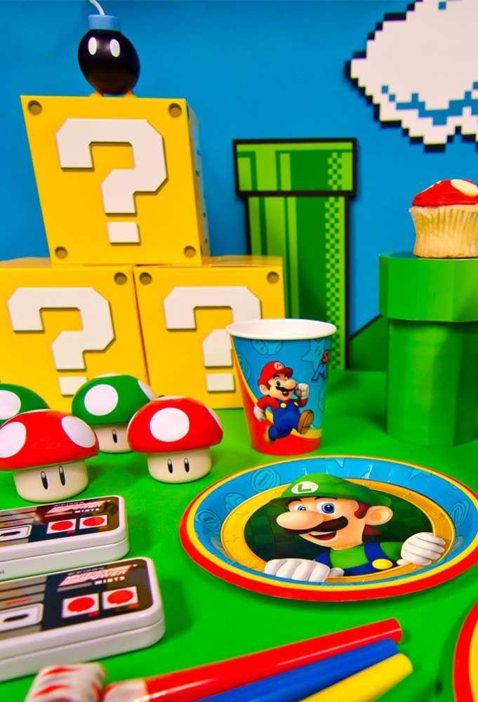 Transforme a mesa do aniversário no verdadeiro jogo do Mario Bros.