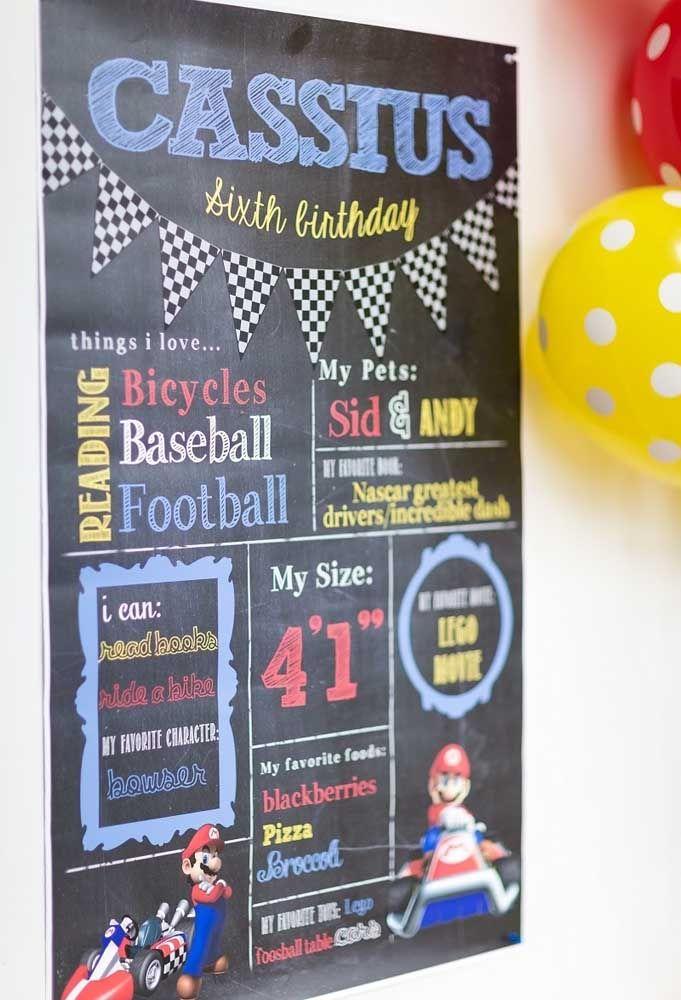 Faça um cartaz com todas as informações do aniversariante como o que ele pode fazer, coisas que ele ama, comidas favoritas, entre outras informações.