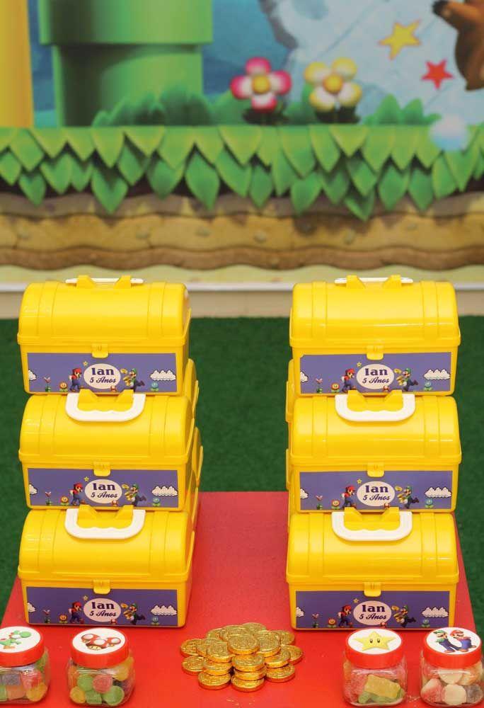 As lembrancinhas podem ser colocadas nas maletinhas de ferramentas do Mario Bros.