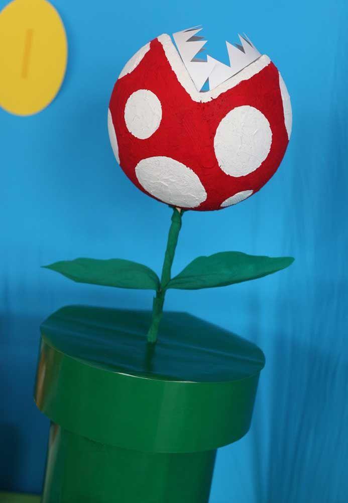 Com isopor e papel dá para fazer todos os elementos do jogo Mario Bros para decorar a festa.