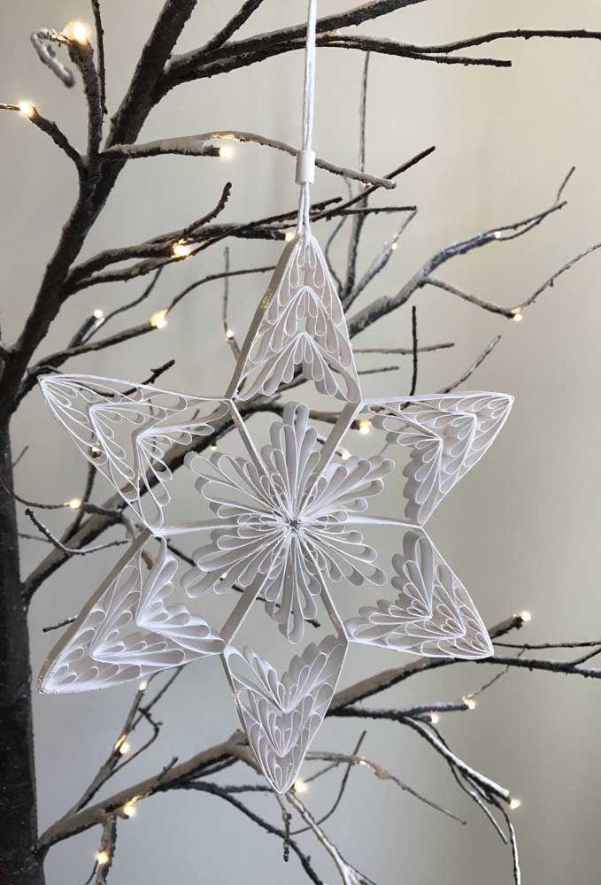 Já pensou em fazer a decoração de natal com quilling? Olha como fica lindo!