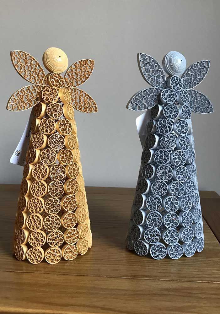 Anjos estilizados na técnica quilling