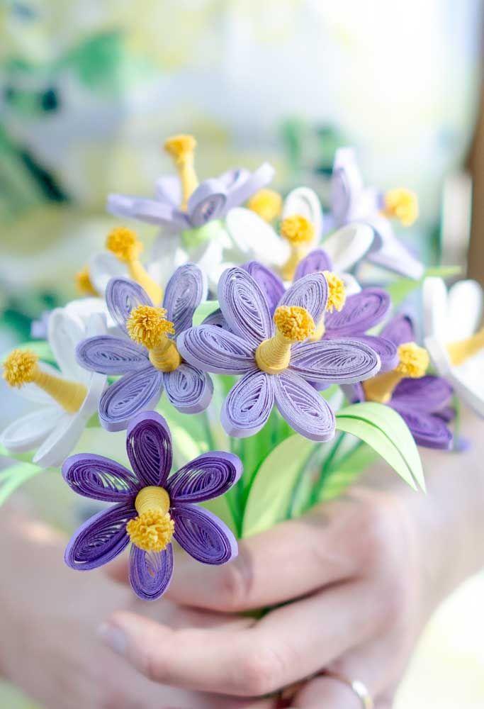 E se até o buquê de noiva for feito com flores quilling? O resultado é apaixonante